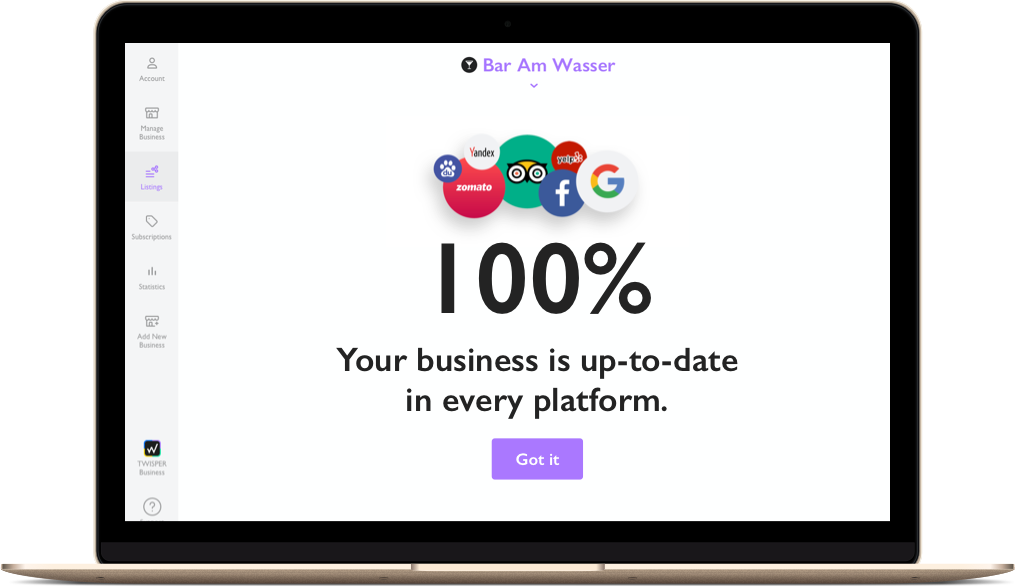 Automatically update all your business information on 20+ platforms